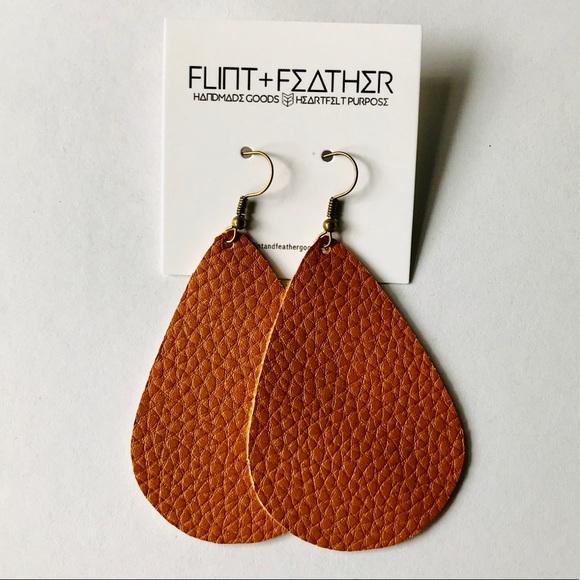 Flint+Feather Cognac Faux Leather Earrings NWT